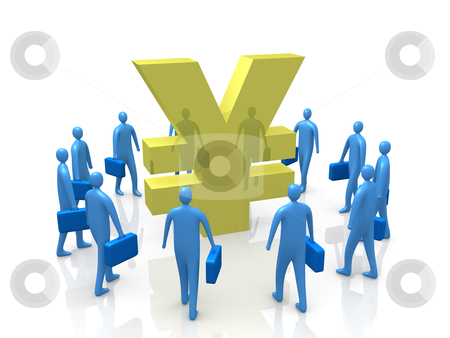 Yen Gathering stock photo, Business people gather around a Yen symbol. by Konstantinos Kokkinis