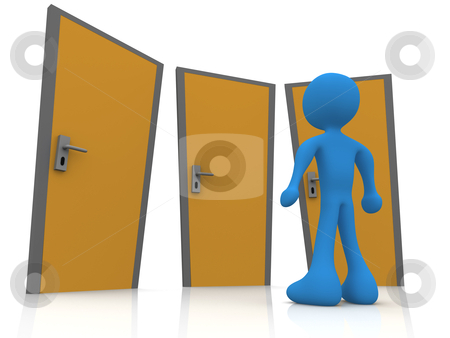 In Front Of Three Doors stock photo, 3d Person In Front Of Three Doors by Konstantinos Kokkinis