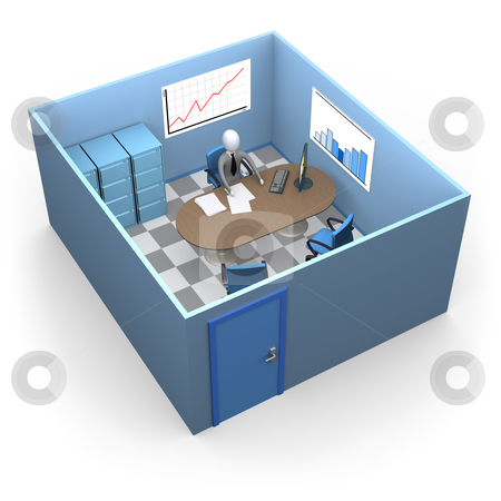 Small Office stock photo, 3d businessman in a small office. by Konstantinos Kokkinis