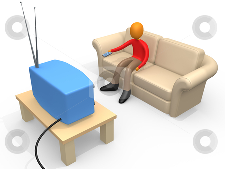 Person Watching Television stock photo, 3d person sitting on a sofa watching television. by Konstantinos Kokkinis