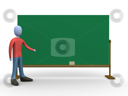 Teacher in front of a blackboard. stock photo, 3d teacher in front of a blackboard. by Konstantinos Kokkinis