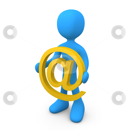 Email stock photo, Person holding a @ symbol. by Konstantinos Kokkinis
