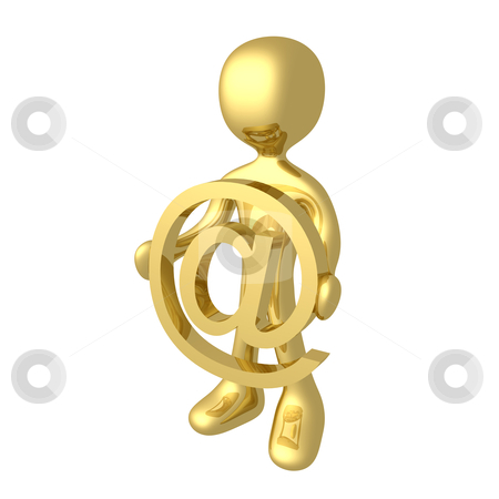 At Symbol stock photo, 3d character holding an at symbol. by Konstantinos Kokkinis
