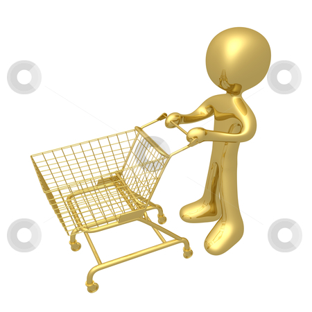 Shopping Cart stock photo, A 3d person with a shopping cart. by Konstantinos Kokkinis