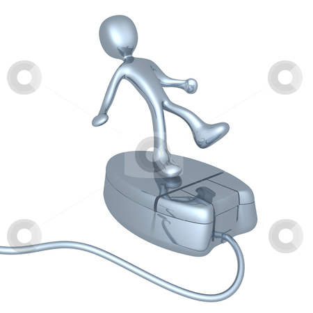 Person On Mouse stock photo, 3d character on a mouse. by Konstantinos Kokkinis