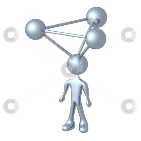 Molecule Person stock photo, 3d person with a molecule atom for head. by Konstantinos Kokkinis