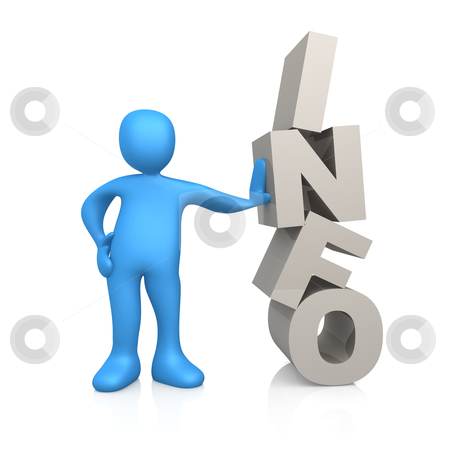 Information stock photo, 3d person next to info text. by Konstantinos Kokkinis