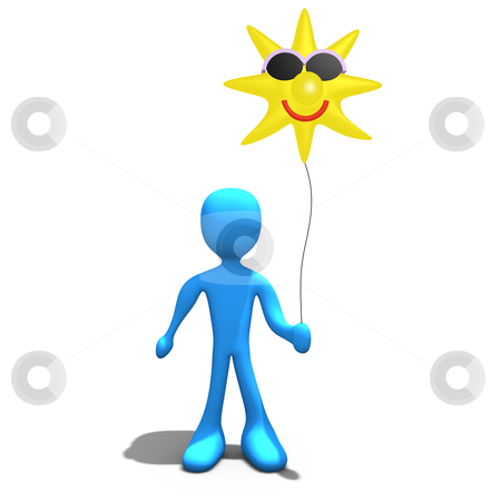 Sunshine stock photo, 3d person holding a sun-shaped balloon. by Konstantinos Kokkinis