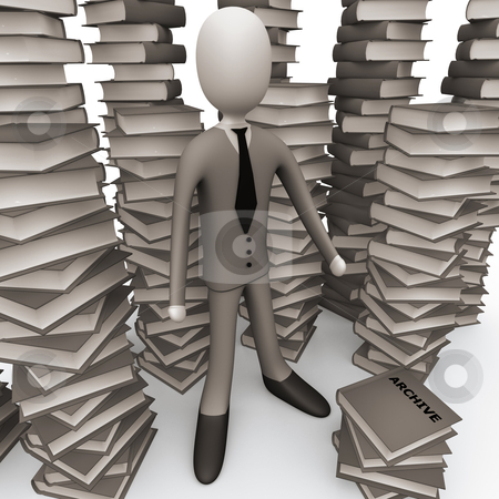 Unsorted Archive stock photo, 3d person with lots of books around him. by Konstantinos Kokkinis