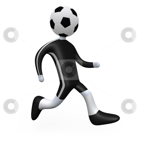 Football Player stock photo, 3d football player with his head replaced by a ball. by Konstantinos Kokkinis