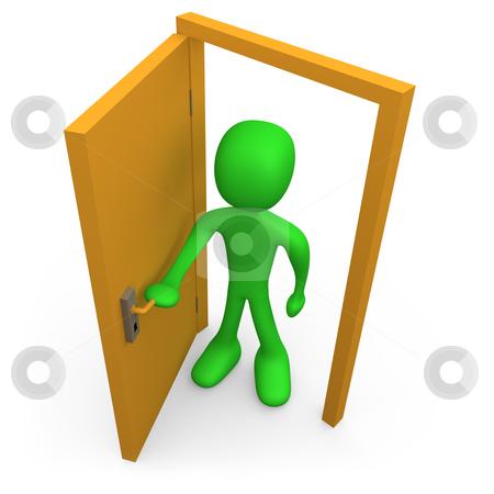 Open The Door stock photo, 3d person in front of an open door. by Konstantinos Kokkinis