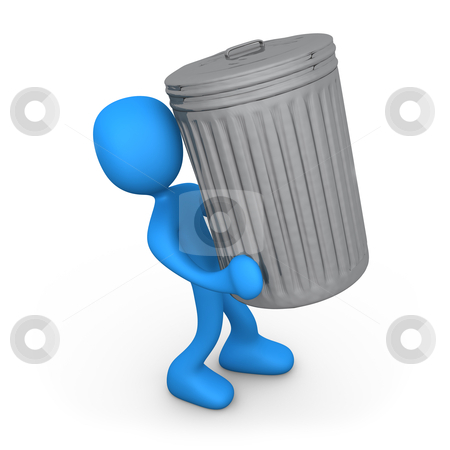 Person with trash can. stock photo, 3d person carrying a big trash can. by Konstantinos Kokkinis