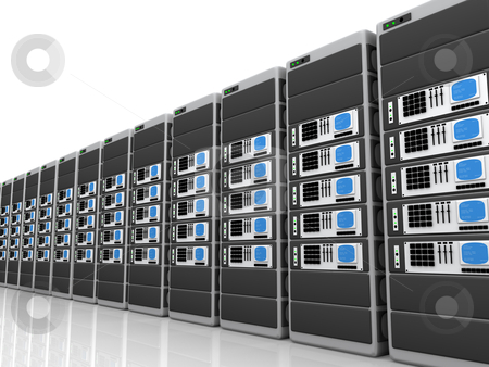 3d server stock photo, Illustration of 3d servers in a row. by Konstantinos Kokkinis