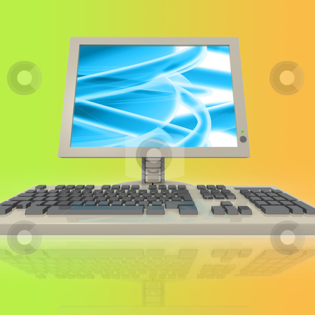 Computer stock photo, Computer with abstract design on it's monitor. by Konstantinos Kokkinis