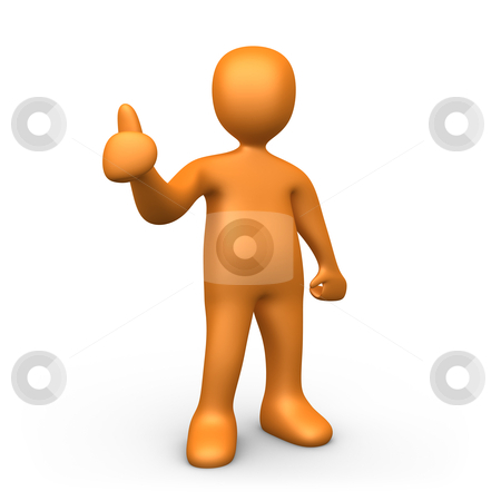Thumbs Up stock photo, 3d person giving a thumb up. by Konstantinos Kokkinis