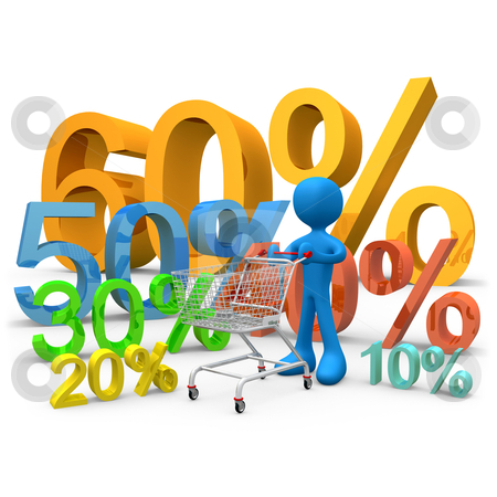 Sales stock photo, 3d person carrying a shopping cart through various 3d percentage signs. by Konstantinos Kokkinis