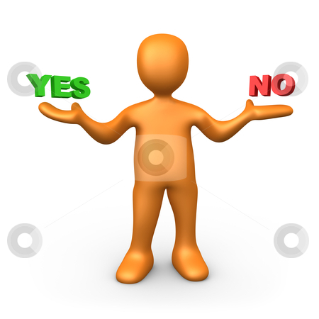 Yes or No stock photo, 3d person pointing at the options. Yes or No? by Konstantinos Kokkinis