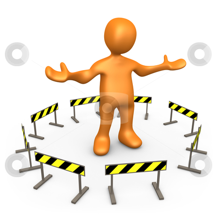 Blocked stock photo, Metaphor of a person having trouble to move on. by Konstantinos Kokkinis