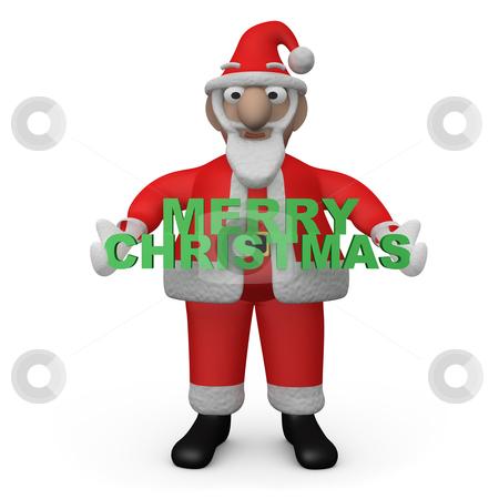 "Merry Christmas Santa stock photo, Santa - Claus Holding a ""merry christmas"" sign. by Konstantinos Kokkinis"