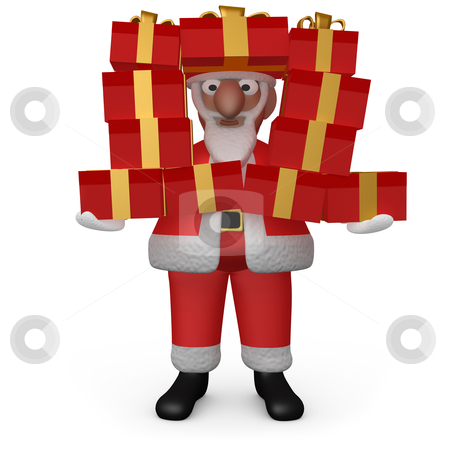 Santa with Presents stock photo, Computer generated image - Santa with Presents . by Konstantinos Kokkinis