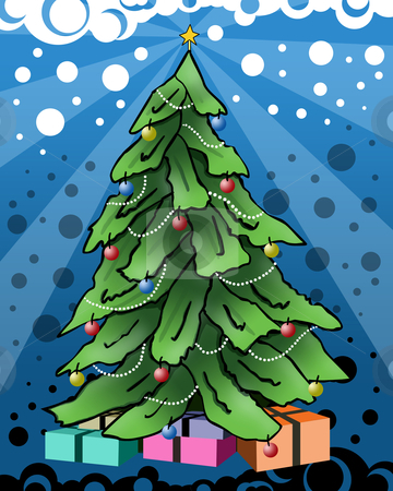 Christmas Tree stock photo, A christmas tree with abstract background . by Konstantinos Kokkinis