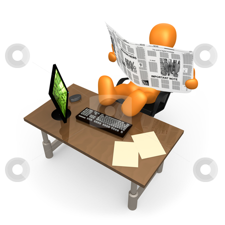Office Relaxation stock photo, 3d person relaxing at the office reading his newspaper . by Konstantinos Kokkinis