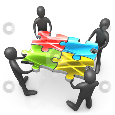 Teamwork stock photo, 3d people connecting large puzzle pieces . Metaphor of teamwork. by Konstantinos Kokkinis