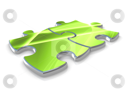 Together stock photo, Two connected pieces of an abstract puzzle . by Konstantinos Kokkinis