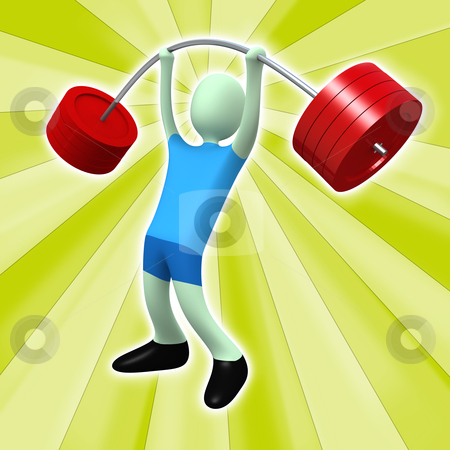 Weightlifter stock photo, Computer generated image - Weightlifter with abstract design. by Konstantinos Kokkinis