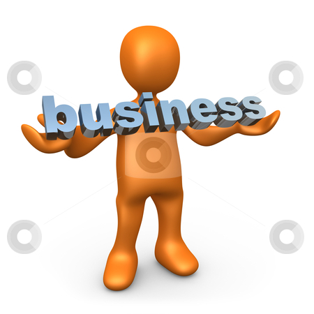 Business stock photo, 3d person holding the word business . by Konstantinos Kokkinis