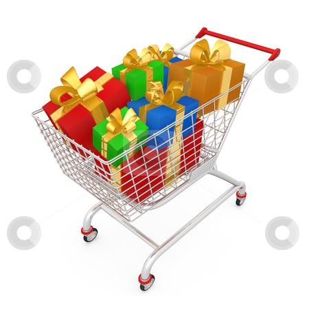 Shopping Cart With Presents stock photo, Computer generated image - Shopping Cart With Presents . by Konstantinos Kokkinis