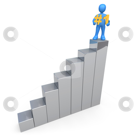 Success stock photo, 3d person standing on a graph holding a rank sign. by Konstantinos Kokkinis
