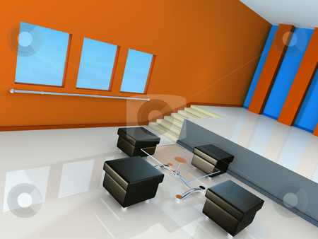 Modern Interior stock photo, Computer generated modern interior. by Konstantinos Kokkinis