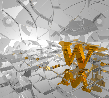 Golden letter w stock photo, cubes background and golden letter w - 3d illustration by J?