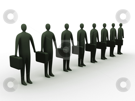 Businessmen in a row. stock photo, 3d businessmen in a row. by Konstantinos Kokkinis