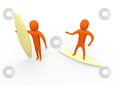 3d surfers stock photo, 3d people on surf boards. by Konstantinos Kokkinis