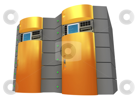 Orange 3D Server stock photo, Computer generated image - Orange 3D Server. by Konstantinos Kokkinis