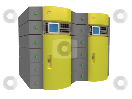 Yellow 3D Server stock photo, Computer generated image - Yellow 3D Server. by Konstantinos Kokkinis