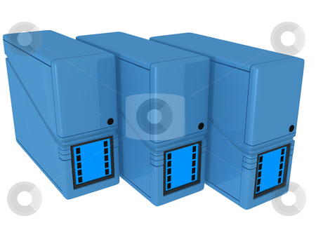 3d servers stock photo, Computer generated image - 3d servers. by Konstantinos Kokkinis