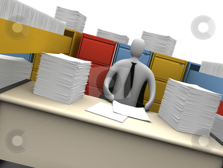Endless Paperwork stock photo, Computer generated image - Endless Paperwork. by Konstantinos Kokkinis