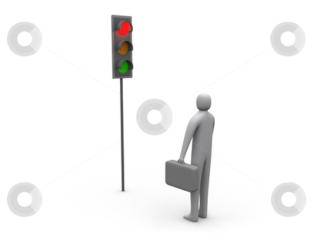 Traffic Light - Business Activity Stopped stock photo, Computer generated image - Traffic Light - Business Activity Stopped. by Konstantinos Kokkinis