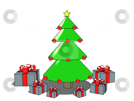 Christmas Tree And Presents stock photo, Computer generated image - Christmas Tree & Presents. by Konstantinos Kokkinis