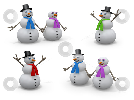 Holidays - Snowmen  stock photo, Computer generated image. -  Holidays - Snowmen. by Konstantinos Kokkinis
