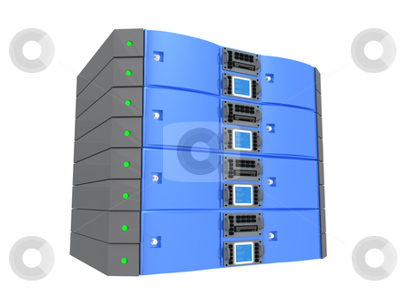 Twin Server - Blue stock photo, Computer generated image - Twin Server - Blue by Konstantinos Kokkinis
