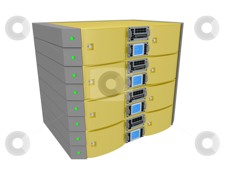 Twin Server - Yellow stock photo, Computer generated image - Twin Server - Yellow by Konstantinos Kokkinis