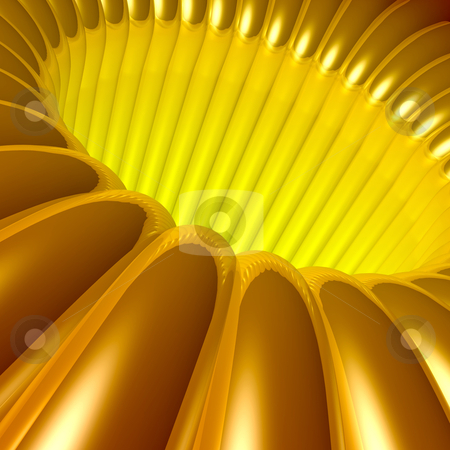 Gold 3d Tunnel stock photo, Computer generated image - Gold 3d Tunnel. by Konstantinos Kokkinis