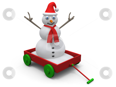 Snowman On Cart stock photo, Computer generated image - Snowman On Cart. by Konstantinos Kokkinis