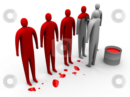 Painted Red stock photo, 3D People Getting Painted Red . by Konstantinos Kokkinis