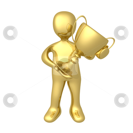 Winner stock photo, 3d person holding a big trophy . by Konstantinos Kokkinis