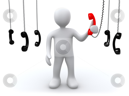 The most important call stock photo, 3d person holding a red phone . Metaphor for most important, or priority or correct answer phone call. by Konstantinos Kokkinis